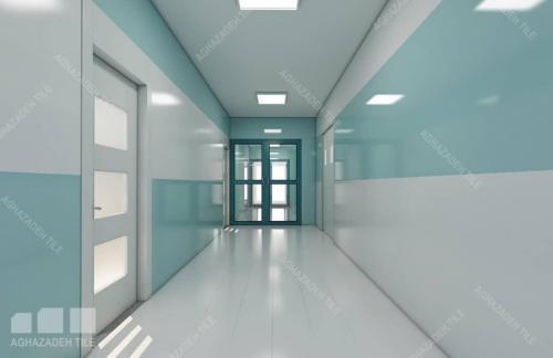 سبز آبی بیمارستانی با خیلی سفید ٦٠٣٠ براق کاشی بیمارستانی بدنه