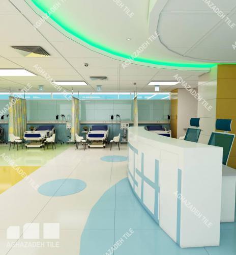 طراحی بیمارستانی با کاشی رنگهای سفید سبز آبی پرتقالی سبز آبی سبز روشن سبز فیروزه ایی آبی روشن در سایزهای ١٢٠٦٠ و ٩٠٤٥ و ٦٠٣٠ کف و بدنه