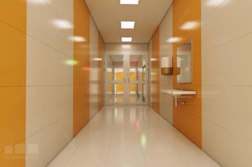 كاشي كرم بيمارستاني تركيب با پرتقالي و كف سفيد ١٢٠٦٠ پرسلاني
