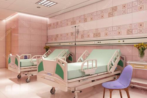 کاشی بیمارستانی مرکز طبی کودکان کاشی براق بیمارستانی رنگهای صورتی روشن و تیره شاد در اتاق بستری بیمارستان کودکان .