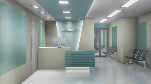 کاشی بیمارستانی پرسلان سبز فیروزه ایی با کرم پرتکتیو و سفید مات در کف سایز بدنه ١٢٠٦٠ و کف ٦٠٦٠ پرسلان