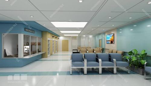 کاشی مراکز درمانی ضد جرم و خش سبز آبی و سبز فیروزه ایی و سفید مات در کف بیمارستان و بدنه بیمارستان سایزهای ٦٠٣٠ و ١٢٠٦٠