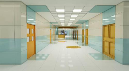 کاشی پرسلانی بیمارستانی کف و بدنه سبز آبی و سفید مات و پرتقالی ١٢٠٦٠