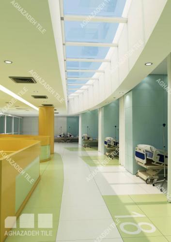 کاشی بیمارستانی و سرامیک بیمارستانی سبز آبی فیروزه ایی پرتقالی ایستگاه پرستاری کاشی بیمارستانی پرسلان ١٢٠٦٠