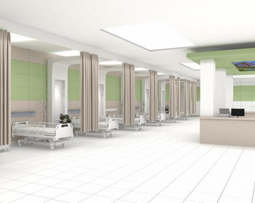 سبز بیمارستانی ١٢٠٦٠ پرسلانی با سفید مات بیمارستانی در دیوار و کف