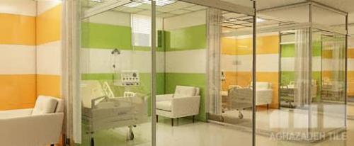 سبز روشن و پرتقالي و كرم و سفيد كاشي بيمارستاني ١٢٠٦٠پرسلاني