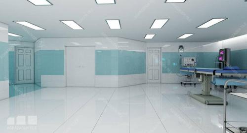 سرامیک اتاق عمل سبز آبی با سفید ساده براق و کف بیمارستانی سفید