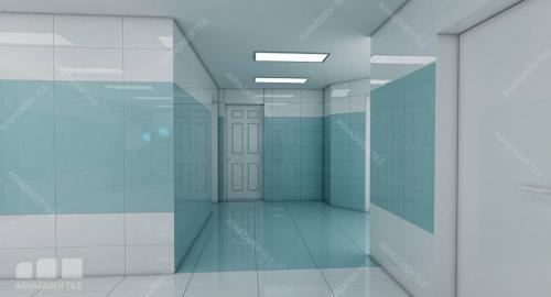 سرامیک بیمارستانی آبی با سفید ساده براق ٦٠٣٠ سوپر وایت