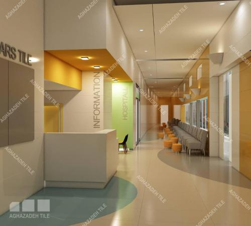 سرامیک پرسلان بیمارستانی آبی سبز کرم سفید پرتقالی کف و بدنه مراکز درمانی با کاشی بیمارستانی رنگی