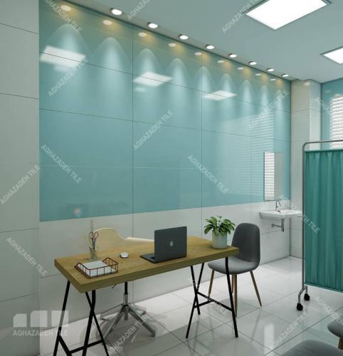 كاشي-اتاق-پرستار-بيمارستاني-سبز-با-سفيد-در-كف-و-بدنه