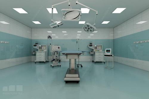 كاشي اتاق عمل ٦٠٣٠ سبز آبي و سبز فيروزه ايي ٦٠٣٠ براق با سفيد بيمارستاني براق ٦٠٣٠