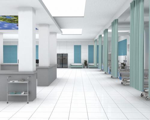 کاشی آبی بیمارستانی ١٢٠٦٠ پرسلان و سفید مات ٦٠٦٠ در کف و سایز ١٢٠٦٠ در دیوار بیمارستان
