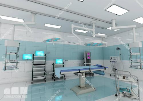 کاشی آبی سبز بیمارستانی براق ٦٠٣٠ بدون بند دیجیتال ترکیب با سفید سوپر وایت بیمارستانی