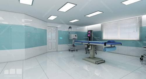 کاشی اتاق عمل سفید ساده براق با آبی بیمارستانی ٦٠٣٠ کاشی بدنه