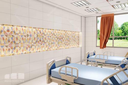 کاشی بیمارستانی اتاق بستری ترکیب رنگهای شاد در اتاق مریض سایز ٦٠٣٠ براق