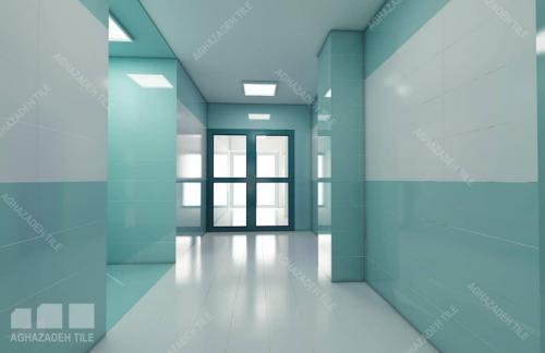 کاشی بیمارستانی سبز آبی با سبز بیمارستانی ٦٠٣٠ مات در راهرو کاشی بیمارستانی