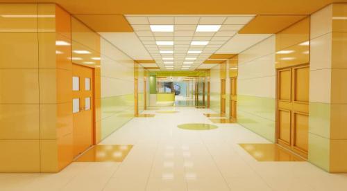 کاشی بیمارستانی پرسلانی استفاده از رنگ شاد پرتقالی با سبز روشن و کرم ١٢٠٦٠ مات پرتکتیو ضد جرم و خط و خش