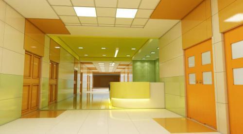 کاشی بیمارستانی پرسلانی ١٢٠٦٠ در ٤ رنگ کرم و سبز روشن و پرتقالی و سفید مات در راهرو بیمارستان و ایستگاه پرستاری ١٢٠٦٠
