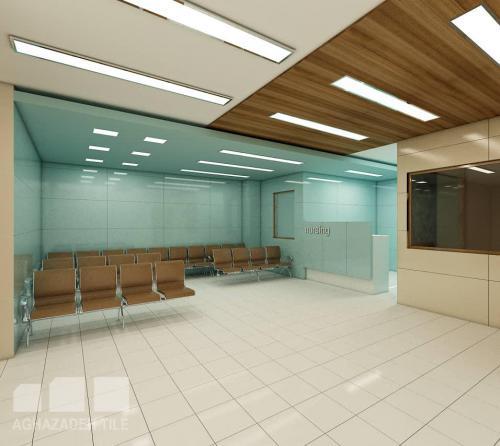 کاشی بیمارستانی پرسلانی کرم و سبز فیروزه ایی مات پرسلان ١٢٠٦٠ مات و کف بیمارستانی سفید مات پرتكتیو در سالن انتظار بیمارستان-