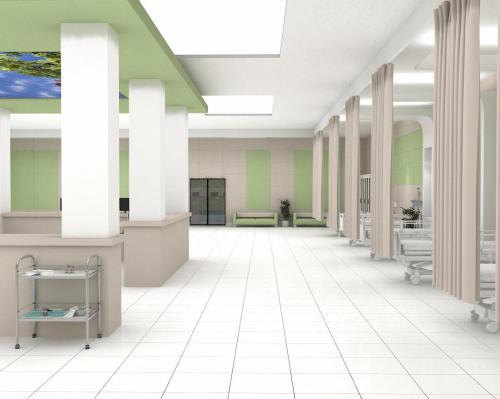 کاشی سفید بیمارستانی با سبز بیمارستانی مات در کف و بدنه ١٢٠ ٦٠ و ٦٠٦٠