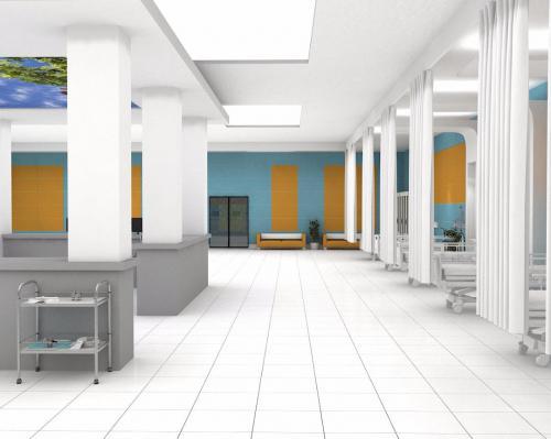 کاشی سفید مات با پرتقالی و سبز آبی بیمارستانی ١٢٠٦٠ پرسلان