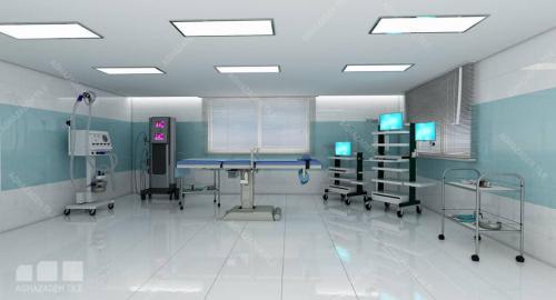 کاشی و سرامیک بیمارستانی سبز با سفید ساده کاشی بدنه ٦٠٣٠ براق بدنه و کف ٦٠٦٠