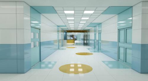 کاشی پرسلانی کاشی بیمارستانی ١٢٠٦٠ ضد خش و جرم بیمارستانی آبی و سفید و پرتقالی